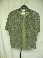 Ladies Outfit blouse Viyella UK 12 petite & top CC size S, khaki green  0334