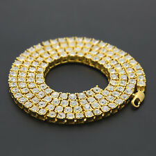 Gold Silver Solitaire Lab Diamond 1 Row Tennis Necklace Choker Chain Men Hip Hop