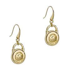 NEW-MICHAEL KORS GOLD TONE MK PAD LOCK DROP EARRINGS MKJ1038