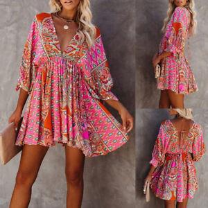 Womens Sexy Boho Beach V-neck Mini Dress Ladies Summer Holiday Bohemian Sundress