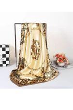 New Ladies Satin Silk Square Floral Shawl Neck Head Scarf Hijab Jilbab Gold