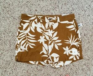 NWT Old Navy Womens Brown Linen Shorts w/ Floral Nature Pattern Sz 2