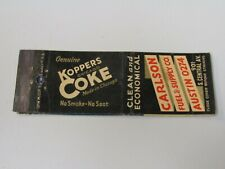 AE518 Matchbook Cover Carlson Fuel Supply Koppers Coke Coal Chicago IL Illinois