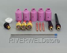 TIG Gas Lens 2% Lanthanate Tungsten Kit DB WP 17 18 26 TIG Welding Torch 18pcs