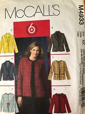 McCalls Pattern 4933.  Size 26W-32W.   Lined Jackets.