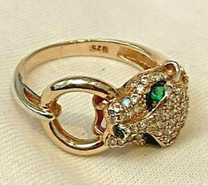 925 Sterling Silver Cheetah Head Ring Simulated Diamonds & Emerald Size 7