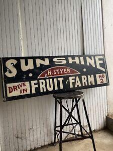 1940s Sunshine Trade Sign Country Metal Folk Art Farmhouse Fruit Farm Cabin