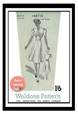 1940s Weldons Wartime Tea Dress Sewing Pattern Bust 32