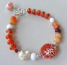 U&C Sundance Crab Fire Agate Pearl Carnelian Coral .925 Sterling Silver Bracelet