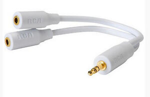 For Ipad Iphone Ipod, Headphone Earbud Y Splitter Adapter Cable, 3.5mm Jack, RCA