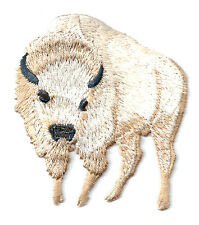 Buffalo - Bison - White - Embroidered Iron On Applique Patch - L