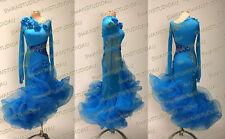 A BRAND NEW READY TO WEAR ELECTRIC BLUE LATIN DANCE DRESS SIZE:S US 4-6 WL426