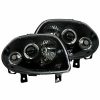Renault Clio MK2 1998-2001 Black Halo Angel Eye Projector Front Headlights Light