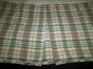 Ralph Lauren Boathouse Madras King Bed Skirt Dust Ruffle Plaid Brown Green