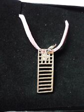"Mackintosh Chair Back Fine English Pewter On a 18"" Pink Cord Necklace codew19"