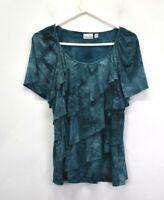 Kim Rogers Women 1X Short Sleeve Frill Ruffle Lace Glittery Blouse Top Teal Blue