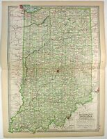 Original 1902 Map of Indiana by The Century Company. Antique