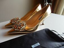 $1010 New PRADA Crystal Jeweled-Brooch Metallic leather Pump Curved heels 39