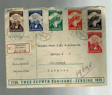 1935 Paramaibo Suriname Registered Cover to Curacao Complete Set # B16-B21