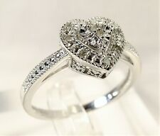 Beautiful 11 Stone Diamond Halo Heart Victorian Style Sz 9.5 Silver Plated Ring