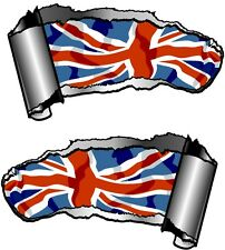 Small Pair Ripped Open Metal Rip GASH Union Jack British Flag Car Sticker decal