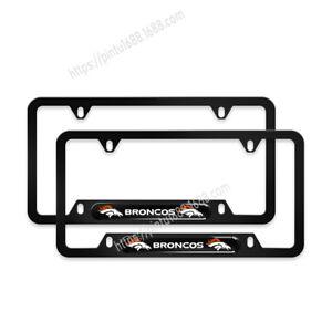 2PCS Denver Broncos License Plate Frame Aluminum Tag Cover With Screw Caps