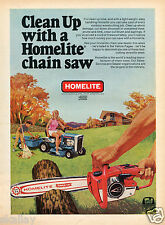 1970 Print Ad of Homelite EZ Chain Saw and Lawn Mower Tractor