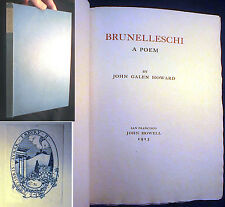 1913 BRUNELLESCHI POEM TAYLOR NASH TAYLOR LIMITED ED SAN FRANCISCO JOHN HOWELL