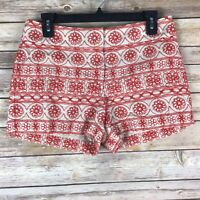 LOFT Womens Size 2 Embroidered Chino 100% Cotton Shorts Red Beige Mid Rise