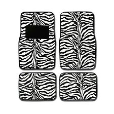 New 4PC Set Front and Rear Car Truck White Black Zebra Floor Mats Universal
