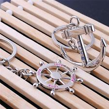 2PCS Cool Anchor Rudder Pendant Couples KeyChain Keyring Keyfob Lover Gift FT88