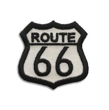 Embroidered Small Route 66 Black on White Sew or Iron on Patch Biker Patch