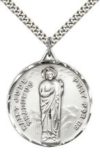 "Sterling Silver St. Jude Pendant with 24"" Chain 0203JSS/24S"