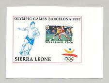 Sierra Leone #1519 Olympics, Soccer 1v S/S Imperf Proof on Card