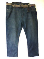 PD&C Mens Size 46X32 Arthur Wash Grey Belted Straight Fit Jeans New - Tiny Snag