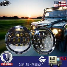 """New listing 2x 7"""" Inch Led Headlight Hi/Low Beam Driving Fog For Land Rover Defender"""