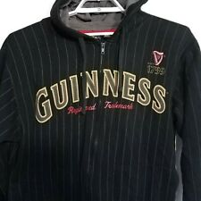 GUINNESS BEER Black Pin Stripe Full Zip Hoodie Hood Sweatshirt Medium