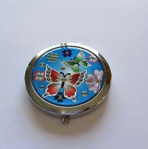 Mirror/Compact- Round butterflies silver orange blue green pink purple flowers