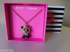 New Betsey Johnson Gold-Tone Pave Panda Enamel Pendant Necklace Enamel