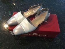Salvatore Ferragamo Boutique Low Heel Slingback Pumps Pearl Shoe Size 8B