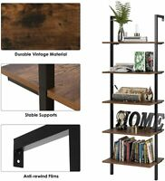 Industrial Ladder Shelf 5-Tier Wood Wall-Mounted Bookcase w/ Stable Metal Frame