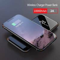 10000mAh Power Bank Qi Wireless Charging Dual USB Portable Battery Charger New