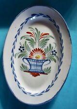 Ancien plat de faïence de l'Est WALY Bouquet de fleurs pot art de la table peint