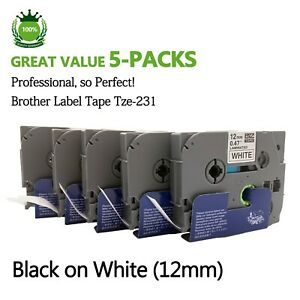 5 PACK TZ-231 TZe-231 Brother Black on White P-Touch Label Tape 12mm 0.47 Lamina