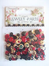 Dovecraft Sweet Paris Sequins - red gold black brown - 15g pack