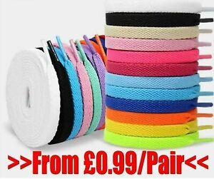 Flat White Black Coloured Shoelaces Shoe Shoes Laces Boots Football Trainer UK