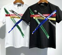 Dsquared2 Black/white Tshirt Colour Tapes Cotton Limited ((FAST DELIVERY))