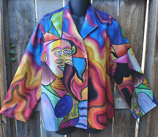 DILEMMA HAND PAINTED PICASSO INSPIRED SILK ART TO WEAR LINED SHORT JACKET!