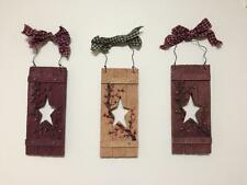 Primitive Country Star Vine Berry Folk Art Plaid Bow Hanging Wall Decor Trio
