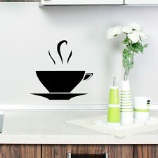 KITCHEN WALL COFFEE TEA CUP VINYL STICKER DECAL SOLID BLACK NEW 2014